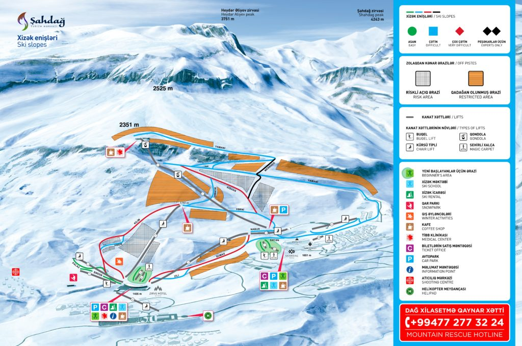 горы,азербайджан,схема,горные лыжи